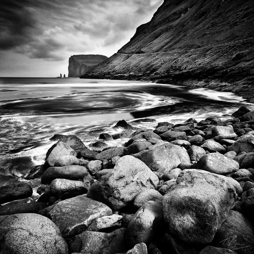 Rocky beach in Tjornuvik, Faroe Islands